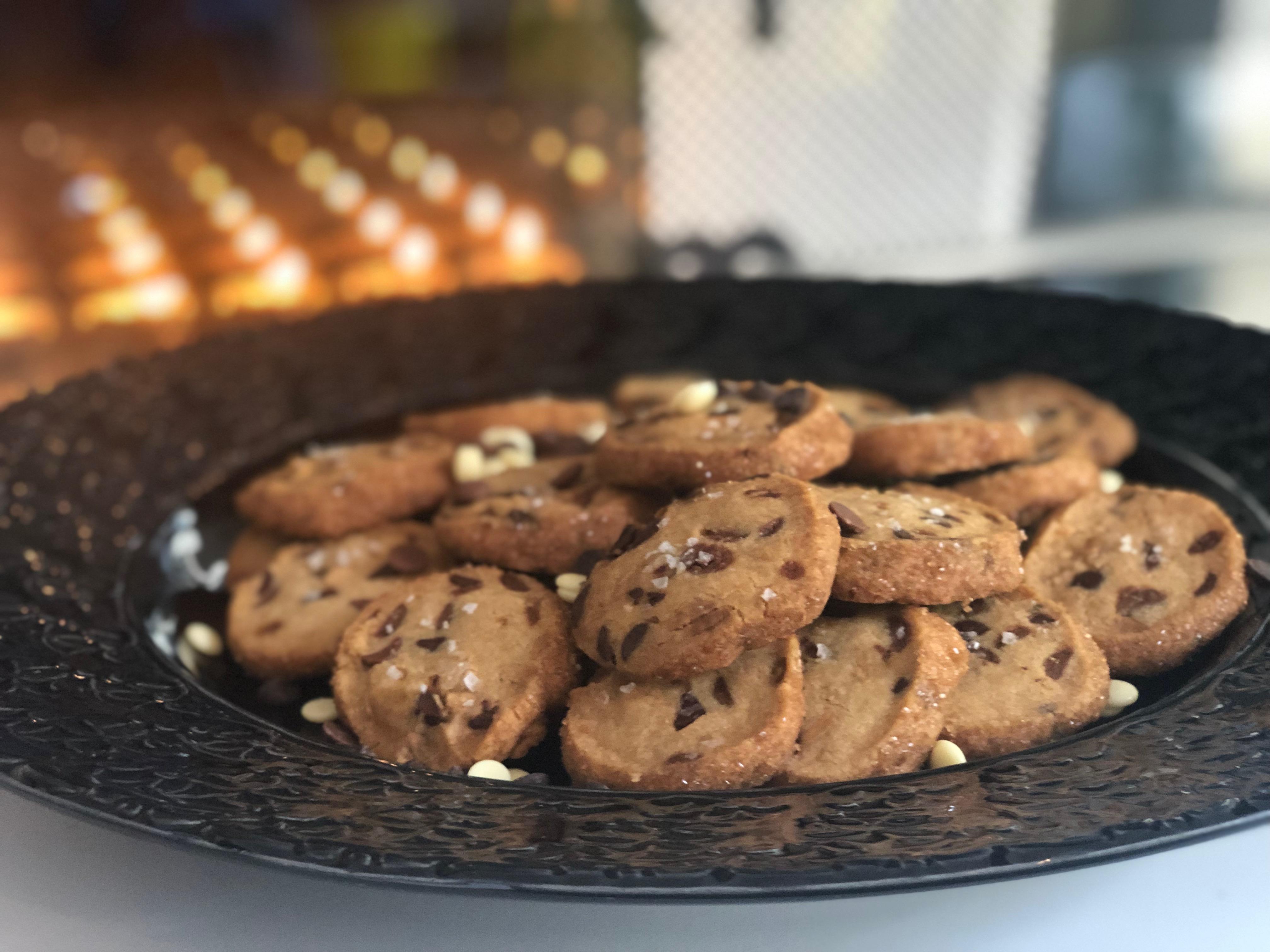 Chocolate chip cookies med flingsalt